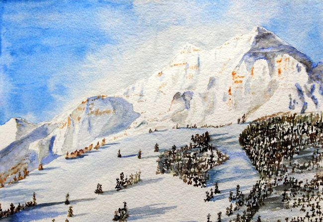 Aspens Buttermilk Mountain With Pyramid Peak Watercolor Paintings