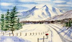 Mount Sopris with Red Mailbox