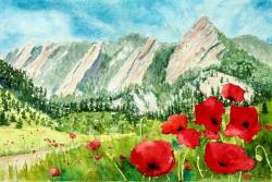 Boulder Flatirons with Poppies